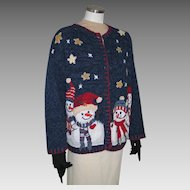 Vintage Early 90s Navy Blue UCS Cardigan Sweater Stars and Snowmen XL