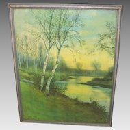Vintage Winter Landscape Print Birches Along a Stream by George Howell Gay