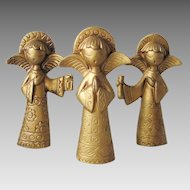 Vintage 1970s Mod Trio of Angels Matte Gold