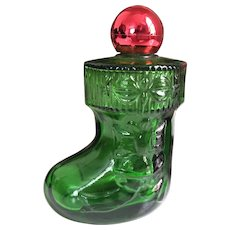 Vintage 1970s Avon Clear Green Glass Stocking Boot Perfume Bottle with Red Shiny Ornament Ball Lid