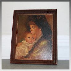 Vintage 1960s Madonna & Child Framed Print Dark Tones Christmas Holiday Decor