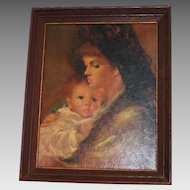 Vintage 1960s Madonna & Child Framed Print Dark Tones Christmas Holiday Decor