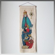 Vintage Mid Century Modern Wert Linen Screen Print   3 Wise Men Magi Wall Hanging