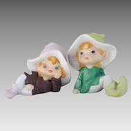 Vintage 1980s Hand Painted Pair of Pastel Bisque Elf Figurines