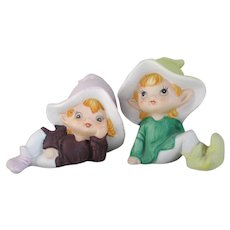 Vintage 1980s Hand Painted Pair of Pastel Bisque Elf Figurines