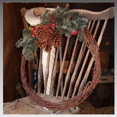 Vintage Authentic Barbed Barb Wire Farm Ranch Holiday Door Wall Wreath