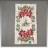Vintage Christmas Poinsettias Bells and Candle Print Gilt  Linen Towel