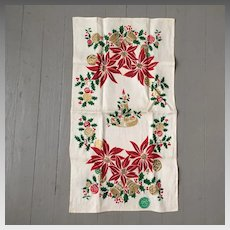 Vintage Christmas Poinsettias Bells and Candle Print Gilt  Linen Towel