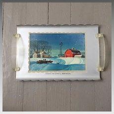"Vintage 1940s ""Company for Supper"" Winter Snow Farm Scene Aluminum Tray"