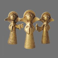 Vintage 1970s Mod Trio of Christmas Holiday Angels Matte Gold