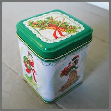 Vintage 1980s Holiday Bayberry Candle in White Green and Red Print Lidded Tin NOS