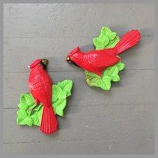 1970s Vintage Pair of Chalkware Cardinals Wall Plaques Hangings Miller Studios