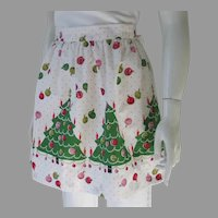 1960s Vintage Novelty Print Christmas Trees Dots Holiday Apron Red Green Pink and White