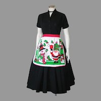 1960s Vintage Holiday Apron Bright Red Green White Santa and Snowman Print
