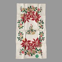 Vintage Christmas Poinsettias Bells and Candle Print Gilt Linen Towel NOS