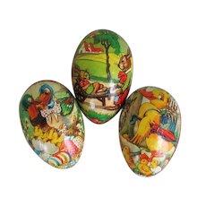 Vintage Post War 1950s Set of 3 Cartoon Bunnies and Ducks Easter Eggs West Germany