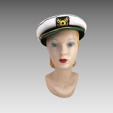 Vintage White Captain's Hat Nautical Boating Sailing Theater Halloween Costume