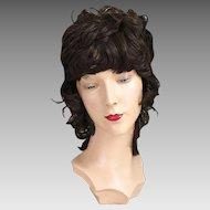 Vintage 1970s Dark Brunette Shag Wig