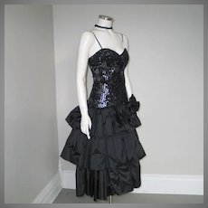 Vintage 1980s Black Triple Tiered Ruffled Sequined Party Dress Lounge Singer Costume XS S