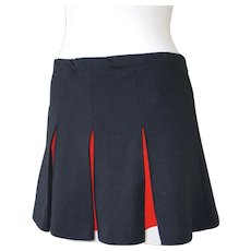 Vintage Cheerleader Pleated Mini Skirt Modesty Shorts in Black with Orange M