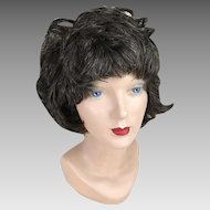 Vintage 1960s 1970s Dark Brunette with Gray Streaks Highlights Shag Wig Hairpiece