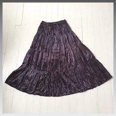 Vintage 1980s Black Purple Crushed Velveteen Broomstick Skirt M L