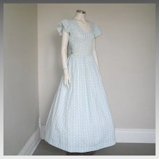 Vintage 1970s Blue White Floral Dotted Swiss Maxi Dress Prairie Dress S