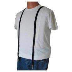 Vintage 1980s Black Costume Suspenders with Silver Toned Hardware Adjustable