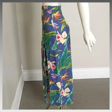 Vintage 1980s Blue Yellow Pink Orange Floral Print Alex Coleman Sarong Skirt XS  Halloween Costume