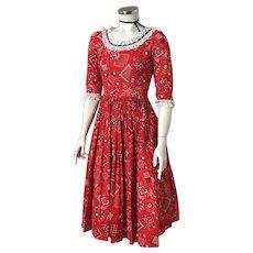 Vintage 1950s Red and Black Bandanna Handkerchief Print Western Dress XS S