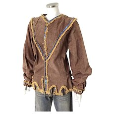 Vintage Cordoroy Fringed Shirt with Bishop Sleeves Sequin Trim and Joker Hem Costume Halloween Theater M