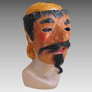 Vintage 1920s Postwar WWI German Devil Pirate Halloween Costume Mask Hand Painted