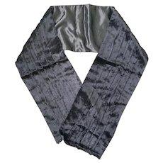 Vintage 1980s Skinny Black Slinky Velvet Stole Wrap Muffler Scarf Halloween Costume