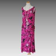 Hot Pink and Black Print Tulip Skirt Dress for Costume 1920s Flapper