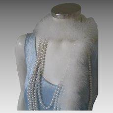 Vintage 1970s Pale Blue Crushed Velvet Knit Tank Flapper Dress with Fringe Hem Costume S M