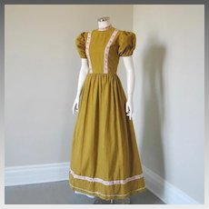 Vintage 1960s Harvest Gold Stand Up Collar Maxi Dress Ribbon Trim Halloween Costume S