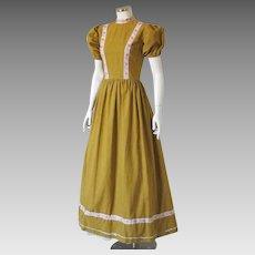 Vintage 1960s Harvest Gold Stand Up Collar Maxi Dress Ribbon Trim Halloween Costume S