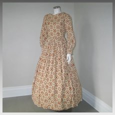 Vintage 1970s Little House On The Prairie Pioneer Maxi Dress Brown Cream Print S