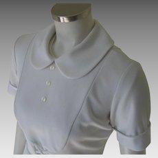 Vintage 1960s White Waitress Hair Stylist Beautician Uniform Top Peter Pan Collar Bib Front S