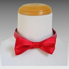 Red Satin Bowties with Elastic and Velcro Clown Stripper Halloween NYE Costume