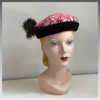 Vintage 1960s Hot Pink Gold and Cream Brocade Hat by Sterling Lindner Davis Repurposed as a Medieval or Renaissance Costume Hat with Feathers