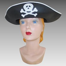 Black and White Halloween Costume Pirate Hat with Skull and Crossbones