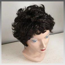 Vintage 1960s 1970s Short Curly Dark Brunette Wig Hairpiece 11 Costume