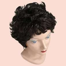 Vintage 1960s 1970s Short Curly Dark Brunette Wig Hairpiece 11 Costume