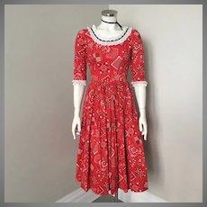 Vintage 1950s Red Black Bandana Handkerchief Print Western Halloween Dress XS S