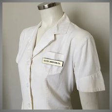 Vintage 1950s White Cotton Button Front Princess Cut Nurse's Dress by Angelica M
