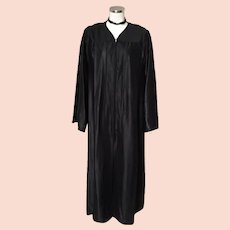 Vintage Full Length Black Choir Robe Halloween Costume Witch Wizard Sorcerer XL