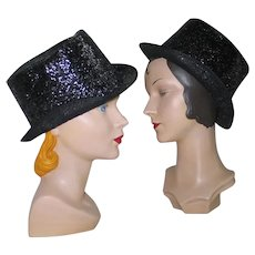 NYE Costume Black Glitter Top Hat Lion Tamer Vegas Performer Magician