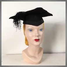 Vintage Black Graduation Cap Hat Mortar Board Mortarboard Halloween Costume