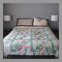 Antique 1920s 1930s Depression Era Chevron Bed Quilt Bedspread Cover